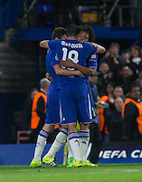 Celebrates as Diego Costa of Chelsea scores to make it 3-0 during the UEFA Champions League match between Chelsea and Maccabi Tel Aviv at Stamford Bridge, London, England on 16 September 2015. Photo by Andy Rowland.