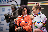 Silver medal winner Ceylin Del Carmen Alvarado (NED-Iko Corendon) and the new world champion Evie Richards (GBR)<br /> <br /> Women U23 Race<br /> UCI CX Worlds 2018<br /> Valkenburg - The Netherlands