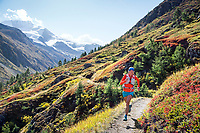 Trail running on the Europaweg in the Tasch Valley, while on the Via Valais, a multi-day trail running tour connecting Verbier with Zermatt, Switzerland.