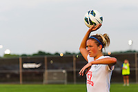 FC Kansas City midfielder Kristie Mewis (19) on a throw in. Sky Blue FC and FC Kansas City played to a 2-2 tie during a National Women's Soccer League (NWSL) match at Yurcak Field in Piscataway, NJ, on June 26, 2013.