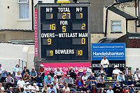 The scoreboard shows that Yorkshire are in some trouble at 27 for 5 during Yorkshire CCC vs Essex CCC, Specsavers County Championship Division 1 Cricket at Scarborough CC, North Marine Road on 6th August 2017