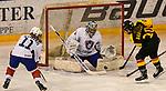 07.01.2020, BLZ Arena, Füssen / Fuessen, GER, IIHF Ice Hockey U18 Women's World Championship DIV I Group A, <br /> Deutschland (GER) vs Frankreich (FRA), <br /> im Bild Isabelle de Liberti (FRA, #11), Thea-Marleen Bartell (GER, #10) scheitert an Eline Gillodes (FRA, #1)<br /> <br /> Foto © nordphoto / Hafner