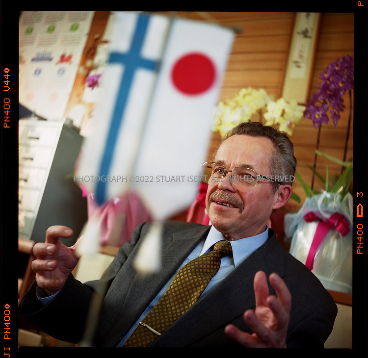 2/6/2002--Yugawara Town, Kanagawa Prefecture, Japan..Finnish born Marutei Tsurunen, a naturalised Japanese citizen since 1979, has become the first westerner to ever hold a seat in Japan's Diet. A member of the Democratic Party of Japan, Tsurunen had already sat on local city councils but this year obtained his Upper House seat after the current holder resigned, leaving the seat open to the election's runnerup...All photographs ©2003 Stuart Isett.All rights reserved.This image may not be reproduced without expressed written permission from Stuart Isett.