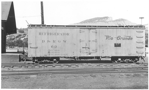 Side view of short reefer #69 at Durango.<br /> D&amp;RGW  Durango, CO