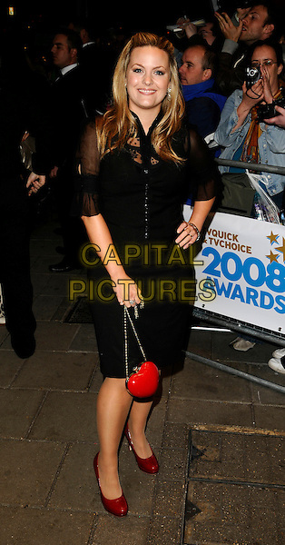 JO JOYNER.The TVQuick & TVChoice Awards, Dorchester Hotel, London, England. .September 8th, 2008 .tv quick choice full length black dress heart sheer red shoes bag purse hand on hip.CAP/CAN.©Can Nguyen/Capital Pictures.