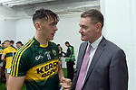 17-1-2017: David Clifford is congratulated by Tim Murphy, Chairman, Kerry County Board after  the All-Ireland Football final at Croke Park on Sunday.<br /> Photo: Don MacMonagle