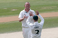 Luke Fletcher of Notts celebrates with his team mates after taking the wicket of Jamie Porter during Essex CCC vs Nottinghamshire CCC, Specsavers County Championship Division 1 Cricket at The Cloudfm County Ground on 23rd June 2018
