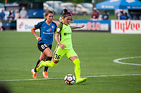 Kansas City, MO - Saturday June 17, 2017: Alexa Newfield, Nahomi Kawasumi during a regular season National Women's Soccer League (NWSL) match between FC Kansas City and the Seattle Reign FC at Children's Mercy Victory Field.