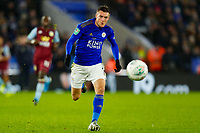 8th January 2020; King Power Stadium, Leicester, Midlands, England; English Football League Cup Football, Carabao Cup, Leicester City versus Aston Villa; Jamie Vardy of Leicester City chases down a loose ball - Strictly Editorial Use Only. No use with unauthorized audio, video, data, fixture lists, club/league logos or 'live' services. Online in-match use limited to 120 images, no video emulation. No use in betting, games or single club/league/player publications