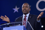 National Harbor, MD - March 4, 2016: Dr. Ben Carson addresses attendees at the 2016 Conservative Political Action Conference, hosted by the American Conservative Union, at the Gaylord National Hotel in National Harbor, MD, March 4, 2016, and announces that he is withdrawing from the 2016 presidential race.    (Photo by Don Baxter/Media Images International)