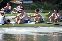 REDWOOD SHORES, CA - May 3, 2014.  Stanford University Men's and Women's Rowing Teams compete against the University of California - Berkeley in the Big Row.  The races were held on the Redwood Shores lagoon on May 3, 2014.