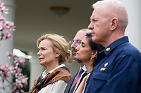 White House coronavirus response coordinator Dr. Deborah Birx, left, United States Secretary of Health and Human Services (HHS) Alex Azar, second left, and Centers for Medicare and Medicaid Services (CMS) Administrator Seema Verma, second right, listen during a news conference in the Rose Garden at the White House in Washington D.C., U.S., on Friday, March 13, 2020.  Trump announced that he will be declaring a national emergency in response to the Coronavirus.  Credit: Stefani Reynolds / CNP/AdMedia