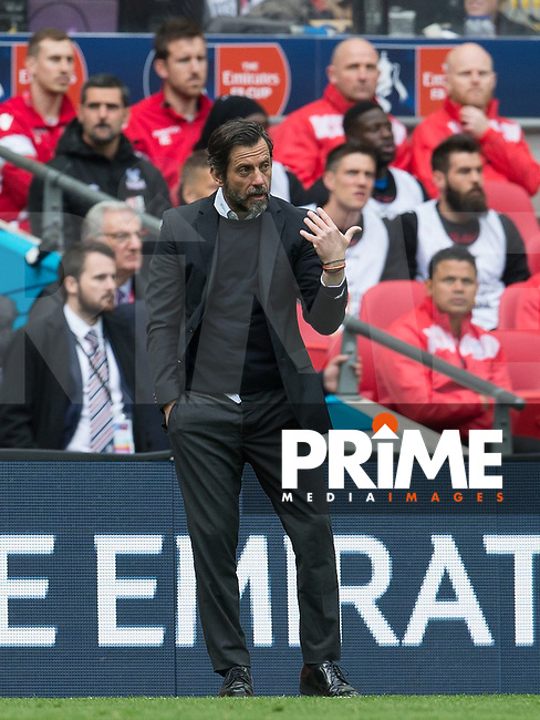 Watford Manager Quique Sanchez Flores during the FA Cup Semi Final match between Crystal Palace and Watford at Wembley Stadium, London, England on 24 April 2016. Photo by Andy Rowland.