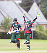ICC World T20 Qualifier - GROUP B MATCH - CANADA V KENYA at Watsonians CC, Edinburgh - Kenya's Maurice Ouma makes the winning runs with Man of the Match Irfan Karim — credit @ICC/Donald MacLeod - 10.07.15 - 07702 319 738 -clanmacleod@btinternet.com - www.donald-macleod.com