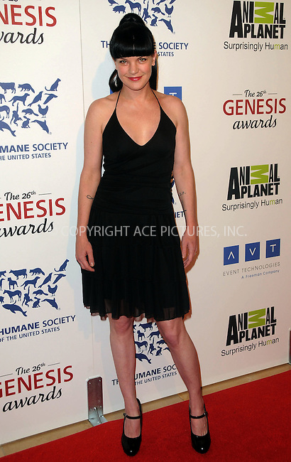 WWW.ACEPIXS.COM . . . . .  ....March 24 2012, LA....Pauley Perrette arriving at the 26th Annual Genesis Awards at The Beverly Hilton Hotel on March 24, 2012 in Beverly Hills, California. ....Please byline: PETER WEST - ACE PICTURES.... *** ***..Ace Pictures, Inc:  ..Philip Vaughan (212) 243-8787 or (646) 769 0430..e-mail: info@acepixs.com..web: http://www.acepixs.com