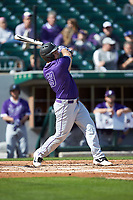 Jared Mihalik (33) of the Furman Paladins follows through on his swing against the Wake Forest Demon Deacons at BB&T BallPark on March 2, 2019 in Charlotte, North Carolina. The Demon Deacons defeated the Paladins 13-7. (Brian Westerholt/Four Seam Images)