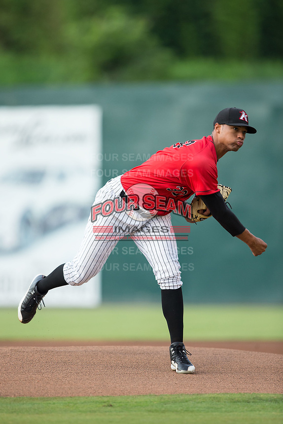 Kannapolis Intimidators starting pitcher Blake Hickman (33) follows through on his delivery against the West Virginia Power at Kannapolis Intimidators Stadium on June 17, 2017 in Kannapolis, North Carolina.  The Power defeated the Intimidators 6-1.  (Brian Westerholt/Four Seam Images)