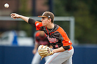 Bowling Green Falcons starting pitcher Brad Croy (4) /del against the Michigan Wolverines on April 6, 2016 at Ray Fisher Stadium in Ann Arbor, Michigan. Michigan defeated Bowling Green 5-0. (Andrew Woolley/Four Seam Images)