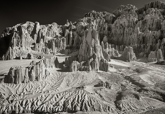 7319500010bw the panaca formations at sunrise rendered in black and white make this setting in cathedral gorge state park in nevada appear other-worldly