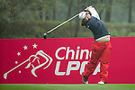 Min Song Ha of South Korea tees off at the 12th hole during Round 3 of the World Ladies Championship 2016 on 12 March 2016 at Mission Hills Olazabal Golf Course in Dongguan, China. Photo by Victor Fraile / Power Sport Images