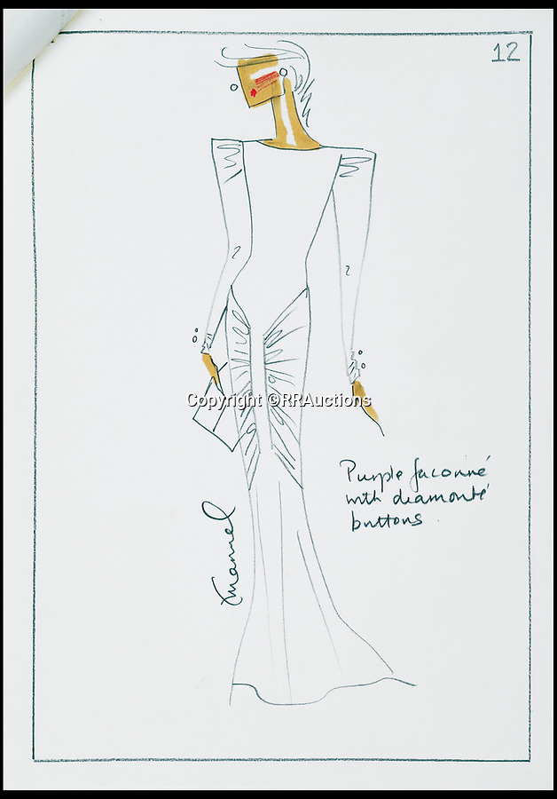 BNPS.co.uk (01202 558833)<br /> Pic: RRAuctions/BNPS<br /> <br /> Sketches of outfits for Princess Diana's visit to Saudi Arabia.<br /> <br /> Fascinating sketches of outfits designed for Princess Diana's visit to Saudi Arabia 32 years ago have come to light - and they include a burka.<br /> <br /> Before Diana and Prince Charles embarked on their 1986 tour of the Gulf states, one of her favourite designers was contacted by Diana's lady in waiting with instructions to make dresses which 'conformed to local customs'.<br /> <br /> The husband and wife team David and Elizabeth Emanuel, who made Diana's wedding dress, submitted sketches for four different demure, long sleeved outfits.<br /> <br /> The fifth, 'reserve' outfit, which was also sketched, was a burka covering Diana from head to toe with only a gap for her eyes.