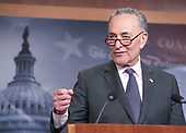 United States Senate Minority Leader Chuck Schumer (Democrat of New York) holds a press conference in the US Capitol in Washington, DC to announce the Senate Democratic Caucus three point plan on gun safety on Thursday, March 1, 2018<br /> Credit: Ron Sachs / CNP<br /> (RESTRICTION: NO New York or New Jersey Newspapers or newspapers within a 75 mile radius of New York City)