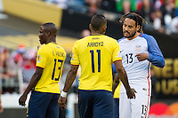 Seattle, WA - Thursday, June 16, 2016: United States midfielder Jermaine Jones (13) confronts Ecuador midfielder Michael Arroyo (11)during the Quarterfinal of the 2016 Copa America Centenrio at CenturyLink Field.