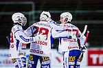 Uppsala 2013-11-13 Bandy Elitserien IK Sirius - IFK Kung&auml;lv :  <br /> Kung&auml;lv Mikko Lukkarila gratuleras av Kung&auml;lv Mikael Lindberg och Kung&auml;lv Sebastian Isaksson efter sitt 3-1 m&aring;l p&aring; h&ouml;rna<br /> (Foto: Kenta J&ouml;nsson) Nyckelord:  jubel gl&auml;dje lycka glad happy