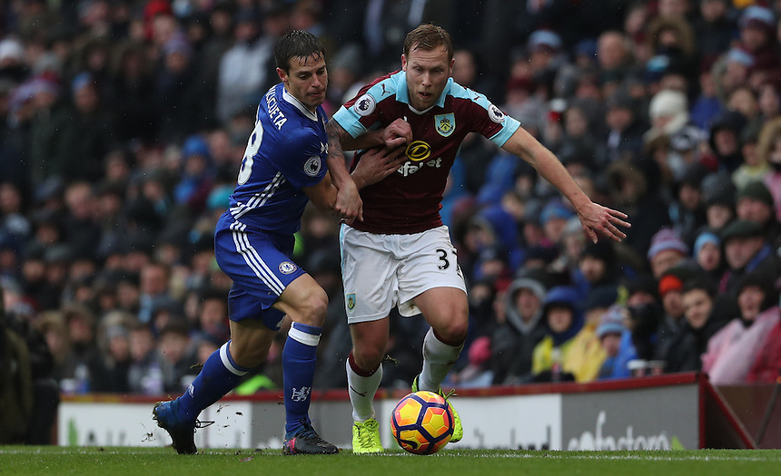 Burnley's Scott Arfield takes on Chelsea's Cesar Azpilicueta<br /> <br /> Photographer Rachel Holborn/CameraSport<br /> <br /> The Premier League - Burnley v Chelsea - Sunday February 12th 2017 - Turf Moor - Burnley<br /> <br /> World Copyright &copy; 2017 CameraSport. All rights reserved. 43 Linden Ave. Countesthorpe. Leicester. England. LE8 5PG - Tel: +44 (0) 116 277 4147 - admin@camerasport.com - www.camerasport.com
