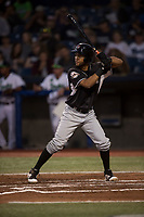 Salem-Keizer Volcanoes center fielder Aaron Bond (51) at bat during a Northwest League game against the Hillsboro Hops at Ron Tonkin Field on September 1, 2018 in Hillsboro, Oregon. The Salem-Keizer Volcanoes defeated the Hillsboro Hops by a score of 3-1. (Zachary Lucy/Four Seam Images)
