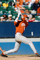 Kyle Russell of the Texas Longhorns during a game against the Cal State Long Beach 49'ers at Blair Field on February 11, 2007 in Long Beach, California. (Larry Goren/Four Seam Images)