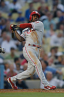 Jimmy Rollins of the Philadelphia Phillies during a game against the Los Angeles Dodgers in a 2007 MLB season game at Dodger Stadium in Los Angeles, California. (Larry Goren/Four Seam Images)
