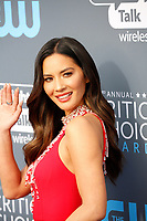 Olivia Munn attends the 23rd Annual Critics' Choice Awards at Barker Hangar in Santa Monica, Los Angeles, USA, on 11 January 2018. Photo: Hubert Boesl - NO WIRE SERVICE - Photo: Hubert Boesl/dpa/dpa-mag /MediaPunch ***FOR USA ONLY***