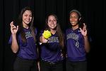 Cedar Ridge softball players:  Breanna Hernandez, Christiana McDowell and Heaven Burton.  (LOURDES M SHOAF for Round Rock Leader.)