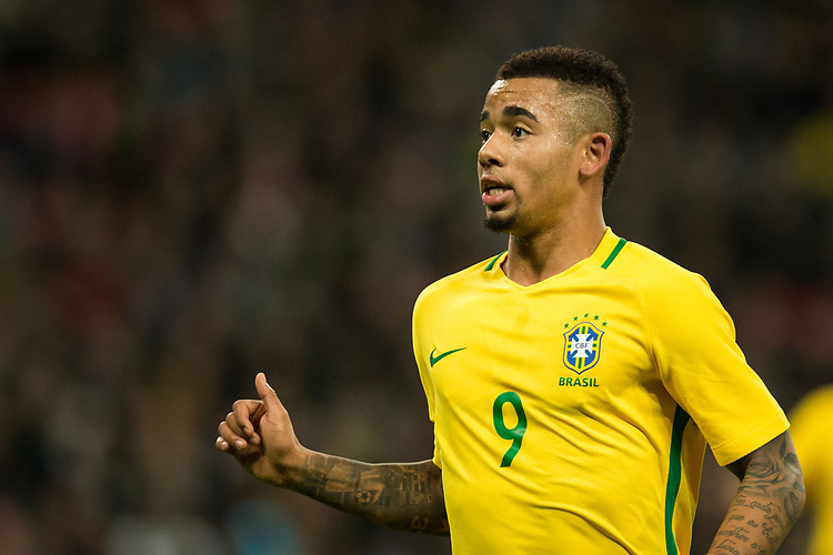 Brazil&rsquo;s Gabriel Jesus <br /> <br /> Photographer Craig Mercer/CameraSport<br /> <br /> The Bobby Moore Fund International - England v Brazil - Tuesday 14th November 2017 Wembley Stadium - London  <br /> <br /> World Copyright &copy; 2017 CameraSport. All rights reserved. 43 Linden Ave. Countesthorpe. Leicester. England. LE8 5PG - Tel: +44 (0) 116 277 4147 - admin@camerasport.com - www.camerasport.com