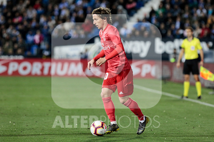 Real Madrid's Luka Modric during La Liga match between CD Leganes and Real Madrid at Butarque Stadium in Leganes, Spain. April 15, 2019. (ALTERPHOTOS/A. Perez Meca)
