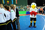 Leipzig, Germany, February 08: The mascot Schlenzi looks on after the final between Germany and The Netherlands at the FIH Indoor Hockey Women World Cup on February 8, 2015 at the Arena Leipzig in Leipzig, Germany. (Photo by Dirk Markgraf / www.265-images.com) *** Local caption ***