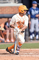 Tennessee Volunteers catcher Benito Santiago (31) swings at a pitch during game one of a double header against the UC Irvine Anteaters at Lindsey Nelson Stadium on March 12, 2016 in Knoxville, Tennessee. The Volunteers defeated the Anteaters 14-4. (Tony Farlow/Four Seam Images)