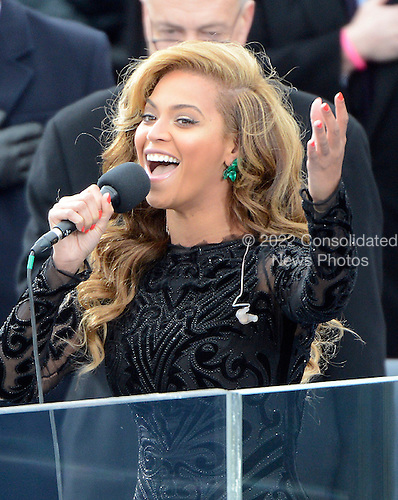 Beyonce sings the National Anthem after United States President Barack Obama took the oath of office during the public swearing-in ceremony at the U.S. Capitol in Washington, D.C. on Monday, January 21, 2013..Credit: Ron Sachs / CNP.(RESTRICTION: NO New York or New Jersey Newspapers or newspapers within a 75 mile radius of New York City)