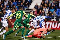 3rd November 2019; Estadio Municipal de Butarque, Madrid, Spain; La Liga Football, Club Deportivo Leganes versus Sociedad Deportiva Eibar; Youssef En-Nesyri (CD Leganes)  scores to make it 1-0 - Editorial Use