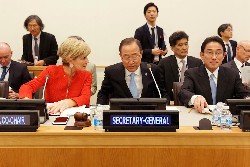 Australian Minister for Foreign Affairs Julie Bishop speaks during the Friends of the Comprehensive Test Ban Treaty (CTBT) Ministerial Meeting with UN Secretary General Ban Ki-moon and Japanese Foreign Minister Fumio Kishida at UN Headquarters in New York, Wednesday September 21, 2016. photo by Trevor Collens/DFAT