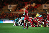 29th September 2017, Parc y Scarlets, Llanelli, Wales; Guinness Pro14 Rugby, Scarlets versus Connacht; Rhys Patchell of Scarlets in position as a scrum takes place