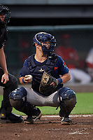 Connecticut Tigers catcher Cooper Johnson (13) during a NY-Penn League game against the Auburn Doubledays on July 12, 2019 at Falcon Park in Auburn, New York.  Auburn defeated Connecticut 7-5.  (Mike Janes/Four Seam Images)