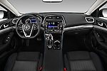 Stock photo of straight dashboard view of 2016 Nissan Maxima S 4 Door Sedan Dashboard