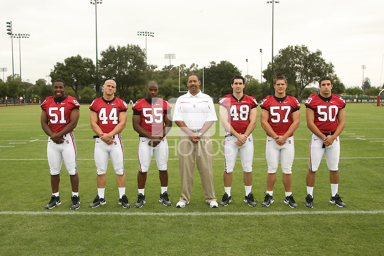 7 August 2006: Position Photos during Stanford Football's Picture Day at the Stanford practice field in Stanford, CA. (L-R): Fred Campbell, Pat Maynor, Michael Okwo, Darrell Patterson, Mike Silva, Sam Weinberger, Nick Macaluso.