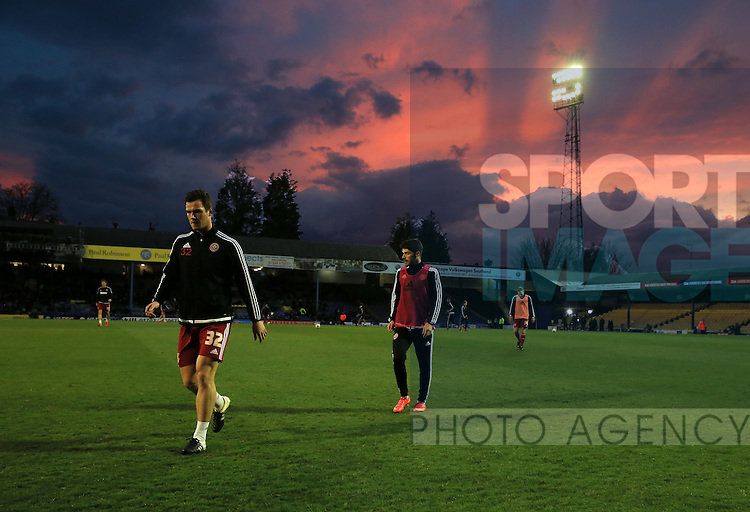 Sheffield United's Harrison McGahey walks off the pitch from his warm up during the League One match at Roots Hall Stadium.  Photo credit should read: David Klein/Sportimage