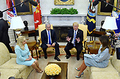 United States President Donald J. Trump and first lady Melania Trump meet with Prime Minister Benjamin Netanyahu and Sara Netanyahu of Israel in the Oval Office of the White House in Washington, DC, March 5, 2018.  <br /> Credit: Olivier Douliery / Pool via CNP