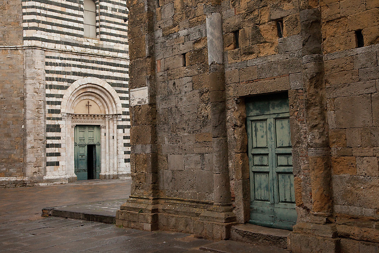Contrasting architecture in hilltown of Volterra in central Italy