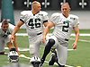 Nick Folk #2, New York Jets kicker, right, stretches along with #46 Tanner Purdum during team training camp at Atlantic Health Jets Training Center in Florham Park, NJ on Sunday, July 31, 2016.