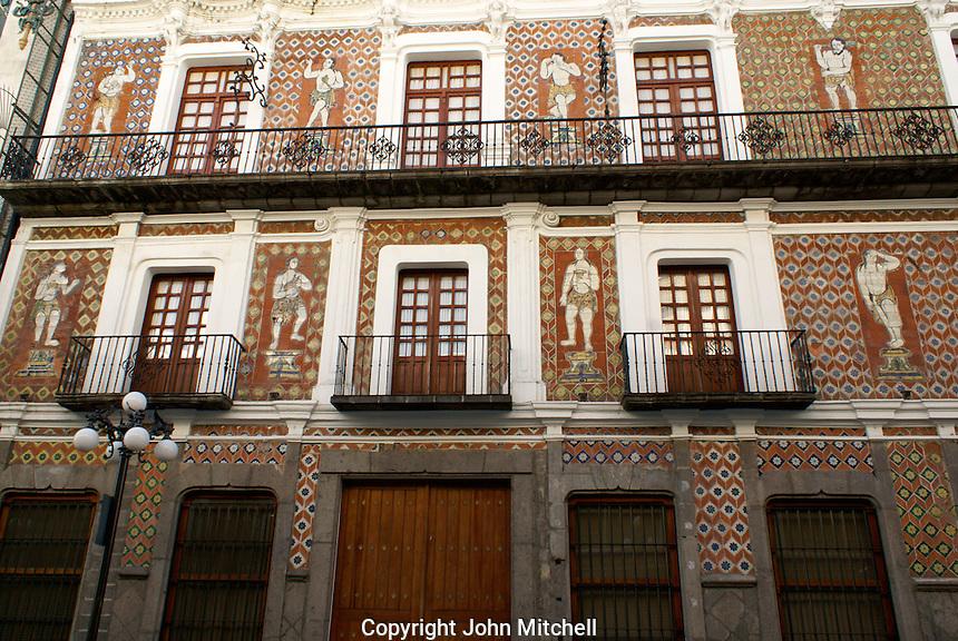 Facade of the Casa de las Munecos or House of the Dolls in the city of Puebla, Mexico. The historical center of Puebla is a UNESCO World Heritage Site..